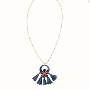 Lilly Pulitzer Navy Tassel Flower Long Necklace💙